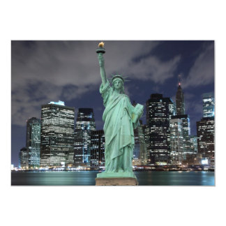 New York City skyline at Night Lights, 5x7 Paper Invitation Card