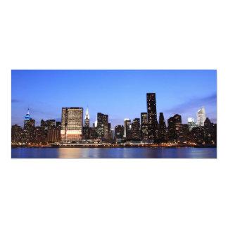 New York City skyline at Night Lights, Midtown Man 10 Cm X 24 Cm Invitation Card