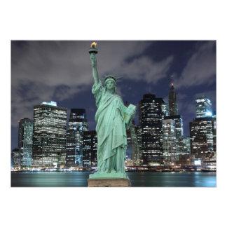 New York City skyline at Night Lights Midtown Man Cards
