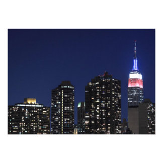 New York City skyline at Night Lights Midtown Man Custom Invitation
