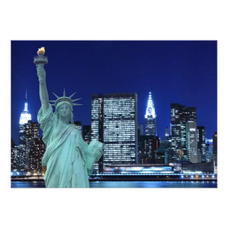 New York City skyline at Night Lights, Midtown Man Custom Announcements