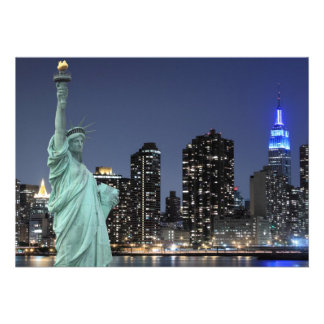 New York City skyline at Night Lights Midtown Man Personalized Invite