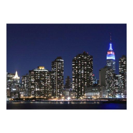 New York City skyline at Night Lights, Midtown Man Custom Invites