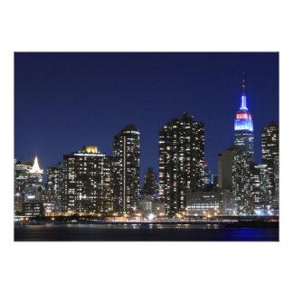 New York City skyline at Night Lights Midtown Man Custom Invites