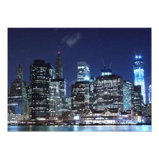 New York City skyline at Night Lights Midtown Man Custom Invitations