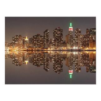 New York City skyline at Night Lights, Midtown Man 17 Cm X 22 Cm Invitation Card
