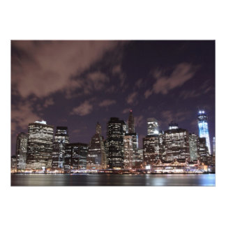 New York City skyline at Night Lights, Midtown Man Personalized Invites