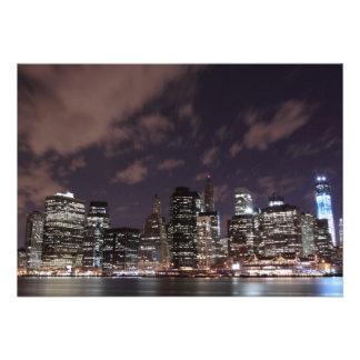 New York City skyline at Night Lights Midtown Man Personalized Invites
