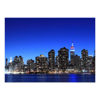 New York City skyline at Night Lights Midtown Man Personalized Announcement