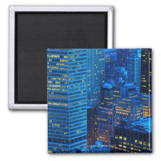 New York City Skyline at Sunset Square Magnet