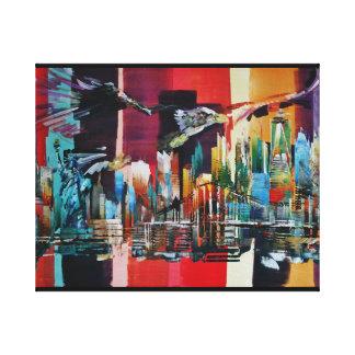 New York City Skyline Bald Eagle 0471 Canvas Print