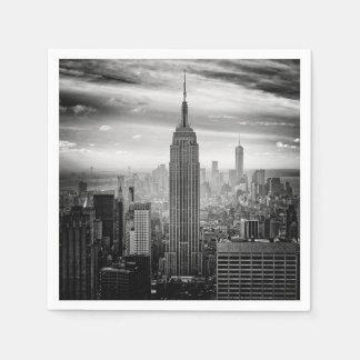 New York City skyline black and white Paper Napkin