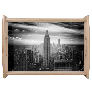 New York City skyline black and white Serving Tray