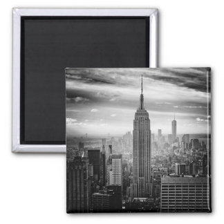 New York City skyline black and white Square Magnet