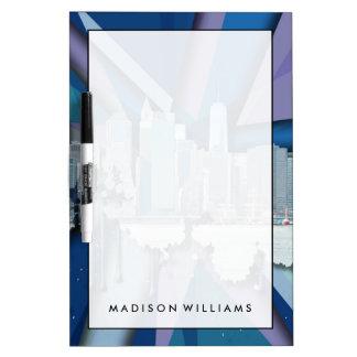 New York City Skyline | Blue 3D Dry Erase Board