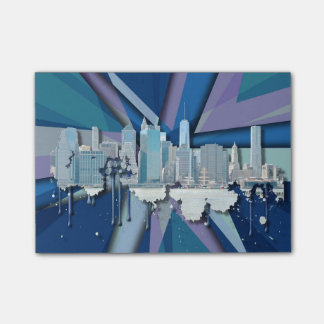 New York City Skyline | Blue 3D Post-it Notes