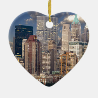 New York City Skyline Ceramic Heart Decoration