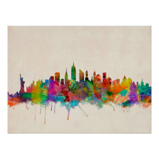 New York City Skyline Cityscape Poster