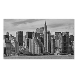 New York City Skyline From the East River B&W Business Card Templates