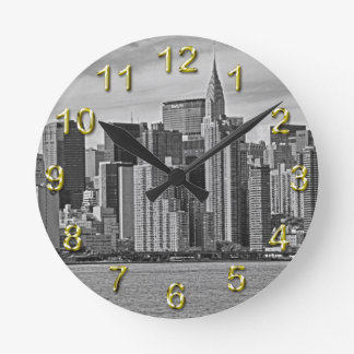 New York City Skyline From the East River B&W Clock