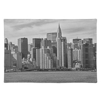 New York City Skyline From the East River B&W Placemat