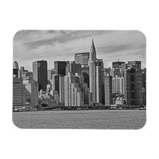 New York City Skyline From the East River B&W Rectangular Photo Magnet