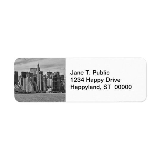 New York City Skyline From the East River B&W Return Address Label