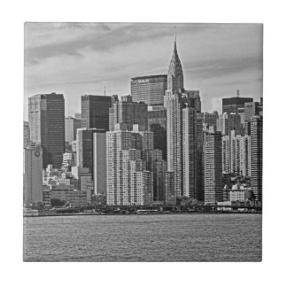 New York City Skyline From the East River B&W Small Square Tile