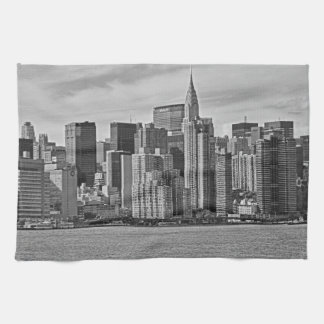 New York City Skyline From the East River B&W Tea Towel