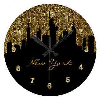 New York City Skyline | Golden Confetti Glitter Wallclock
