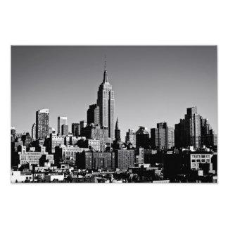 New York City Skyline in Black and White Photo