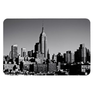 New York City Skyline in Black and White Rectangle Magnets