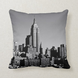 New York City Skyline in Black and White Throw Pillow