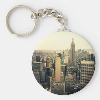 New York City Skyline Midtown Basic Round Button Key Ring