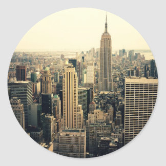 New York City Skyline Midtown Round Sticker