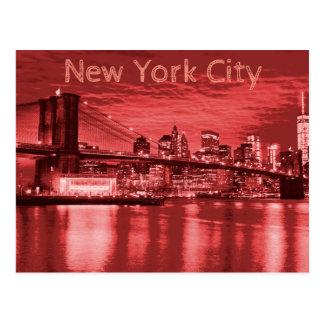 New York City Skyline Red Postcard