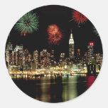 New York City Skyline Round Stickers