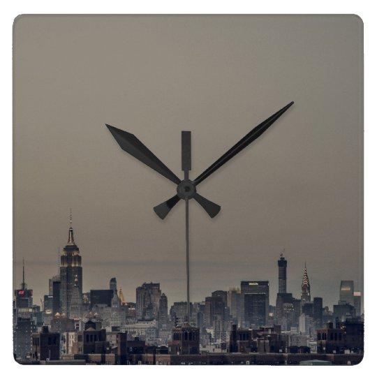 New York City Skyline Square Wall Clock