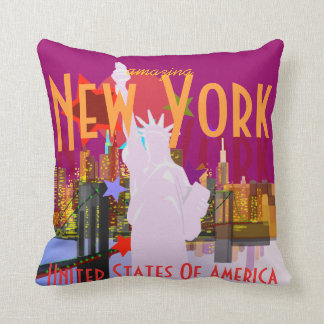 New York City Skyline Statue of Liberty USA Pillow