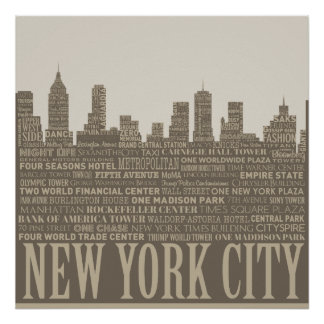 New York City Skyline Typography Poster
