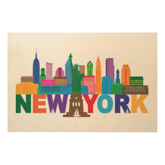 New York City Skyline Typography Wood Wall Decor