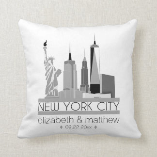 New York City Skyline Wedding Cushion