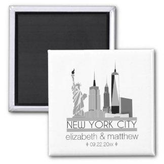 New York City Skyline Wedding Square Magnet