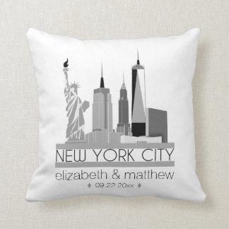 New York City Skyline Wedding Throw Pillow