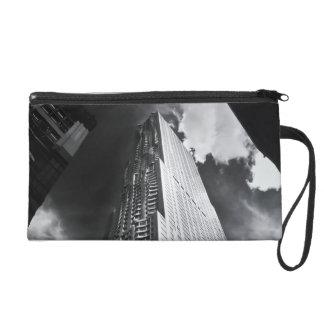 New York City Skyscraper in Black and White Wristlet Purse