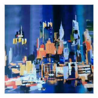 New York City Skyscrapers Abstract Poster
