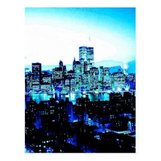 New York City Skyscrapers at Night Postcard