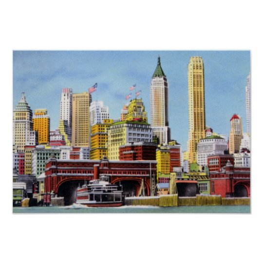 New York City Staten Island Ferry and Skyline Poster