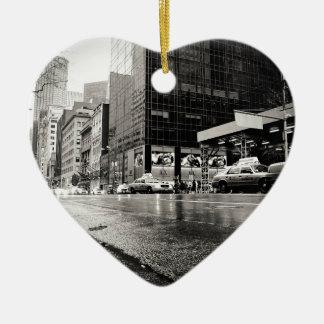 New York City Street in the Rain Ceramic Heart Decoration