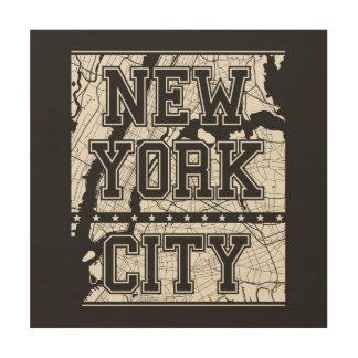 New York City   Street Map Wood Print